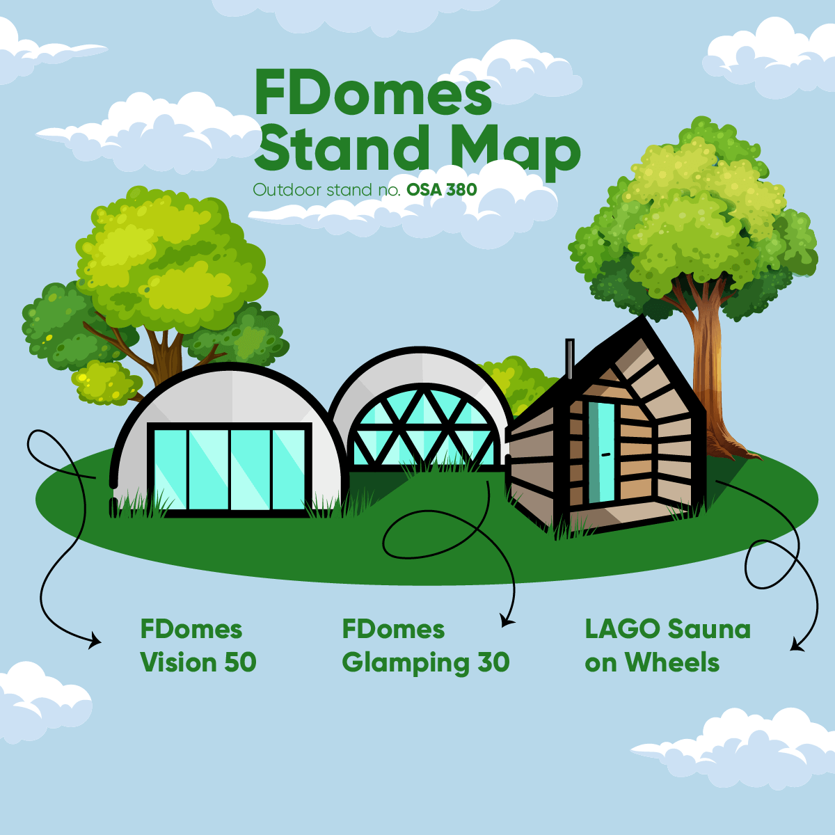 FDomes stand map for The Glamping Show UK